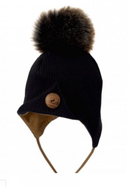 BEXA Zimná čiapka na zaväzovanie s brmbolcom + šatka - čierna / hnedá, veĽ. 62/68-#Velikost koj. oblečení;62-68 (3-6m)