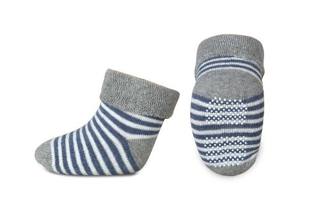 Dojčenské froté ponožky, RISOCKS protišmykové - prúžky, sivá/granát/biela