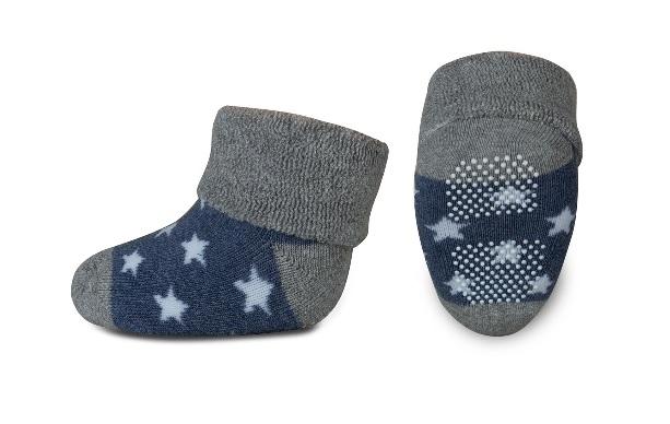 Dojčenské froté ponožky, RISOCKS protišmykové -  hvezdičky, sivá/granát/biela