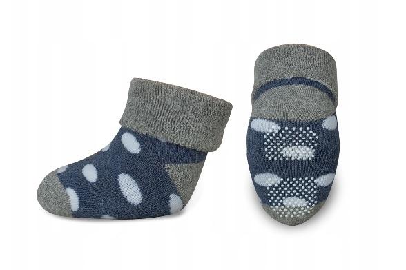 Dojčenské froté ponožky, RISOCKS protišmykové -  bodky, sivá/granát/biela