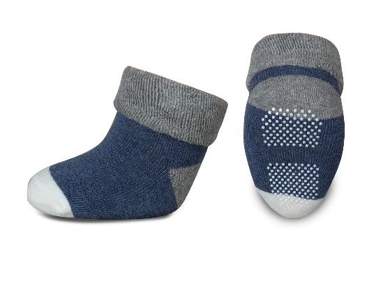 Dojčenské froté ponožky, RISOCKS protišmykové - - sivá/granát/biela