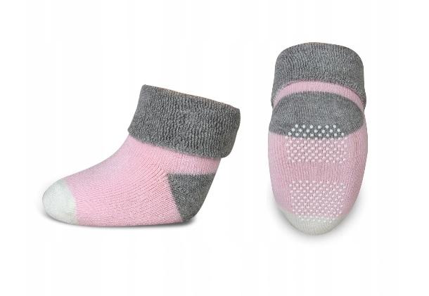 Dojčenské froté ponožky, RISOCKS protišmykové - - sivá/růžová/biela