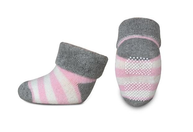 Dojčenské froté ponožky, RISOCKS protišmykové, pruhy - sivá/růžová/biela