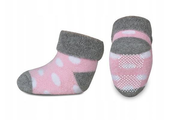 Dojčenské froté ponožky, RISOCKS protišmykové, bodky - sivá/růžová/biela