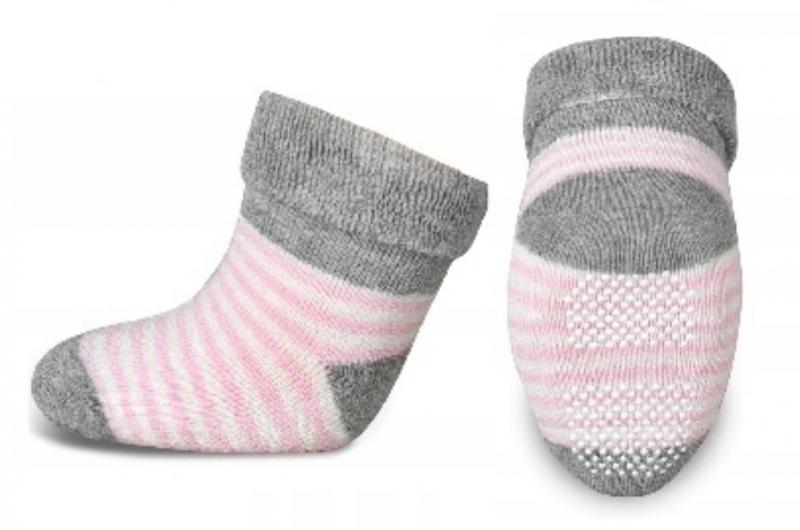 Dojčenské froté ponožky, RISOCKS protišmykové, prúžky - sivá/růžová/biela