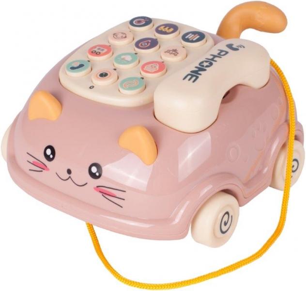 Tulimi Interaktívny telefón na kolieskach mačička - ružová