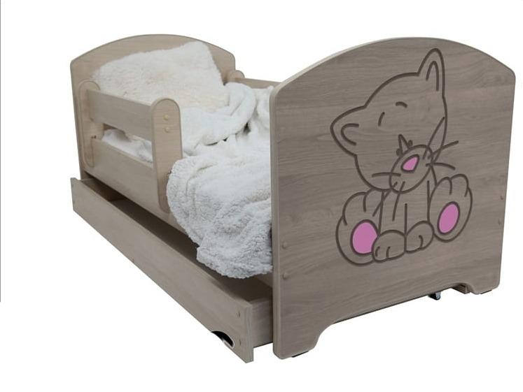 Detská posteľ Mačka ružová - farba Dub Sonoma + matrac gratis