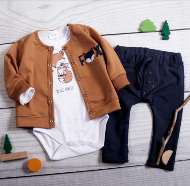 K-Baby 3 dielna sada - 1x body dlhý, mikina a tepláčiky - Lišiak, granát, hnedá, veľ. 68