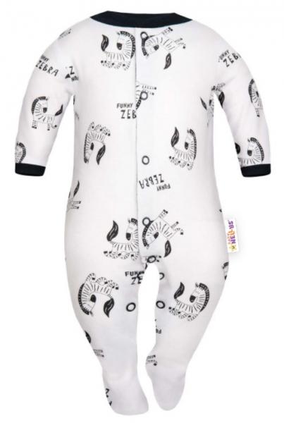 Baby Nellys Overal Funny Zebra, zapínanie uprostred, biely