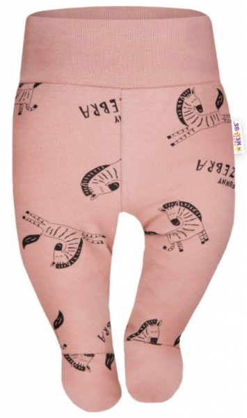 Baby Nellys Bavlnené polodupačky Funny Zebra - pudrové