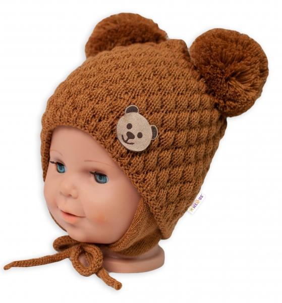BABY NELLYS Zimná pletená čiapka Teddy na zaväzovanie, hnedá-#Velikost koj. oblečení;56-68 (0-6 m)
