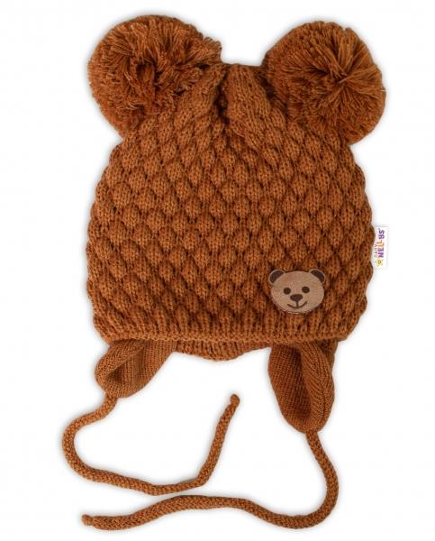 BABY NELLYS Zimná pletená čiapka Teddy na zaväzovanie, hnedá, 68/80, (6-12m)