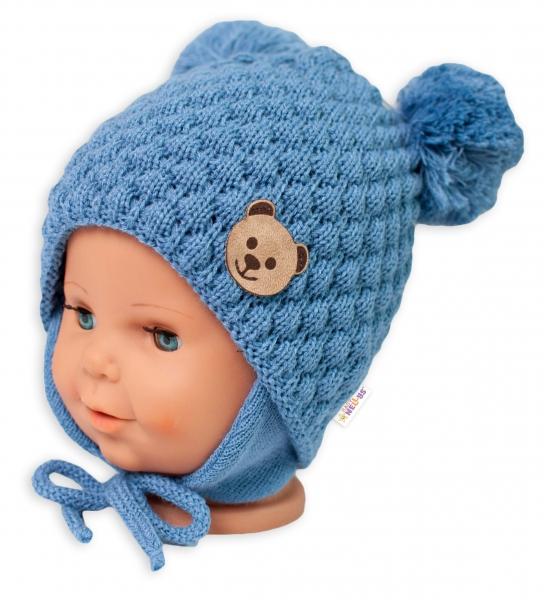 BABY NELLYS Zimná pletená čiapka Teddy Bear na zaväzovanie, modrá, 68/80, (6-12m)-#Velikost koj. oblečení;68-80 (6-12m)