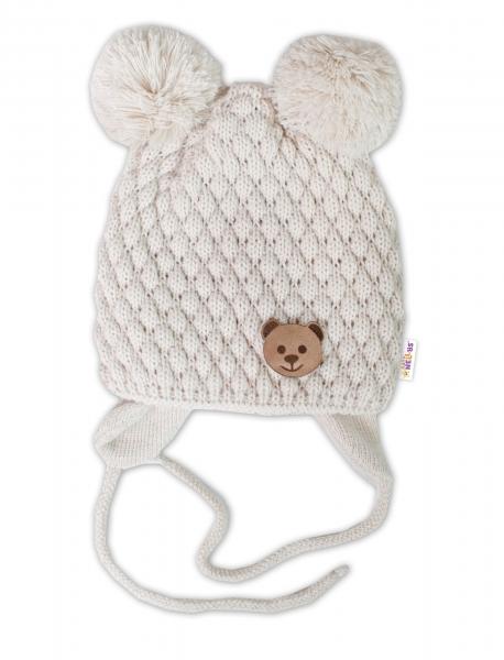 BABY NELLYS Zimná pletená čiapka Teddy Bear na zaväzovanie, ecru