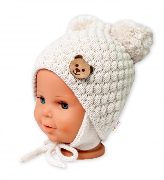 BABY NELLYS Zimná pletená čiapka Teddy Bear na zaväzovanie, ecru, 68/80, (6-12m)-#Velikost koj. oblečení;68-80 (6-12m)