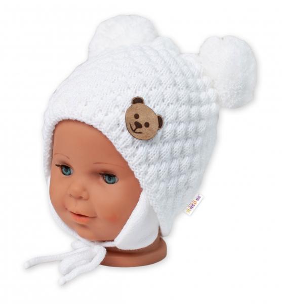 BABY NELLYS Zimná pletená čiapka Teddy Bear na zaväzovanie, biela-#Velikost koj. oblečení;56-68 (0-6 m)