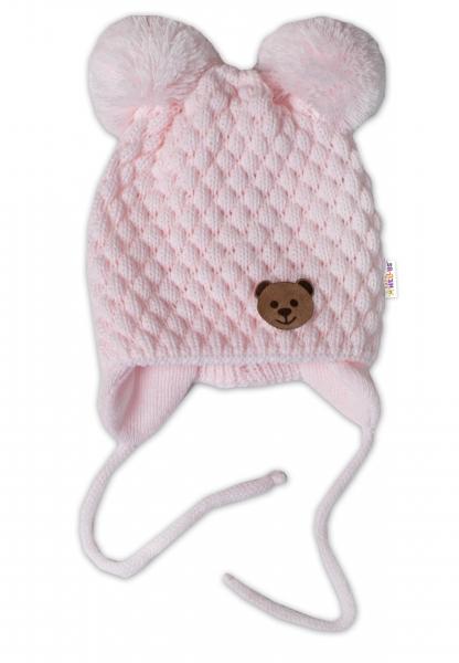 BABY NELLYS Zimná pletená čiapka Teddy Bear na zaväzovanie, ružová