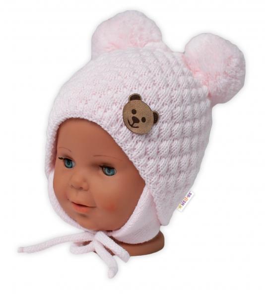 BABY NELLYS Zimná pletená čiapka Teddy Bear na zaväzovanie, ružová, 68/80, (6-12m)-#Velikost koj. oblečení;68-80 (6-12m)