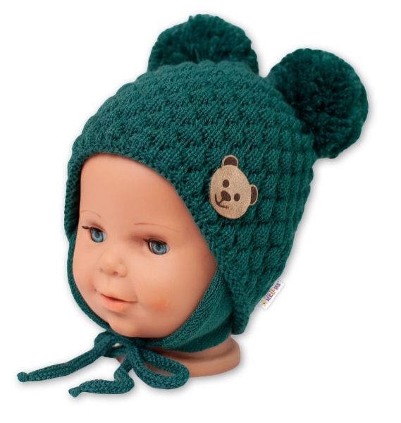 BABY NELLYS Zimná pletená čiapka Teddy Bear na zaväzovanie, zelená, 68/80, (6-12m)-#Velikost koj. oblečení;68-80 (6-12m)