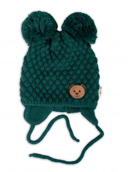 BABY NELLYS Zimná pletená čiapka Teddy Bear na zaväzovanie, zelená, 68/80, (6-12m)