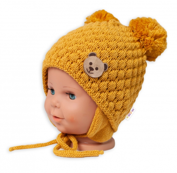 BABY NELLYS Zimná pletená čiapka Teddy Bear na zaväzovanie, horčicová, 68/80, (6-12m)-#Velikost koj. oblečení;68-80 (6-12m)