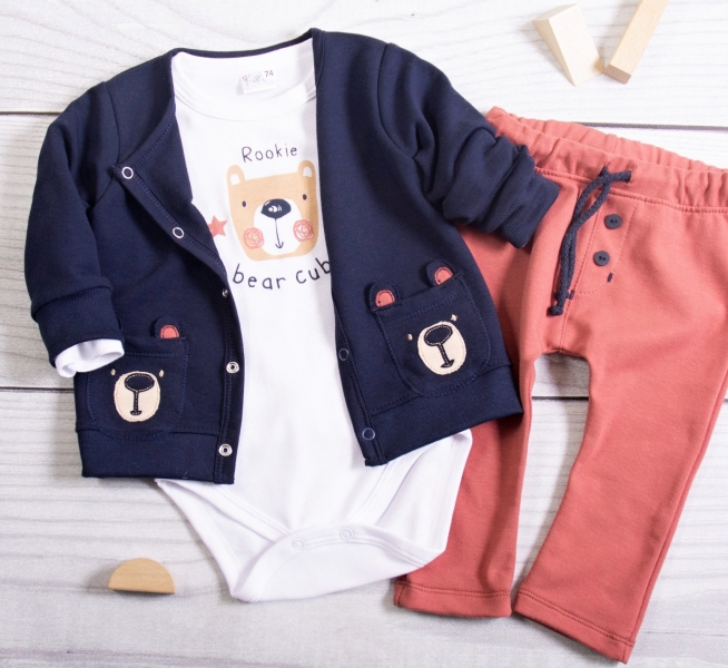 K-Baby 3dielna sada - 1x body dlhý, mikina a tepláčiky Teddy Bear, granát, cihlová, veľ.74