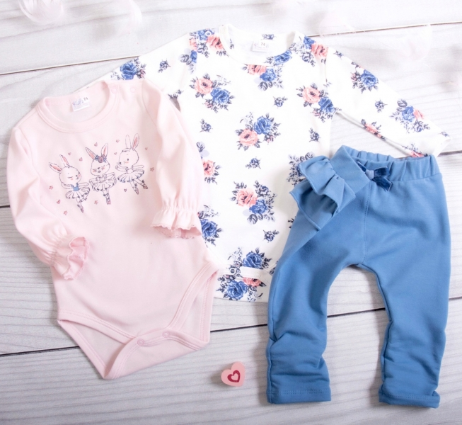 K-Baby 3-dielna sada, 2x body dl. rukáv, legíny - Bunny Ballet, pudrová, jeans