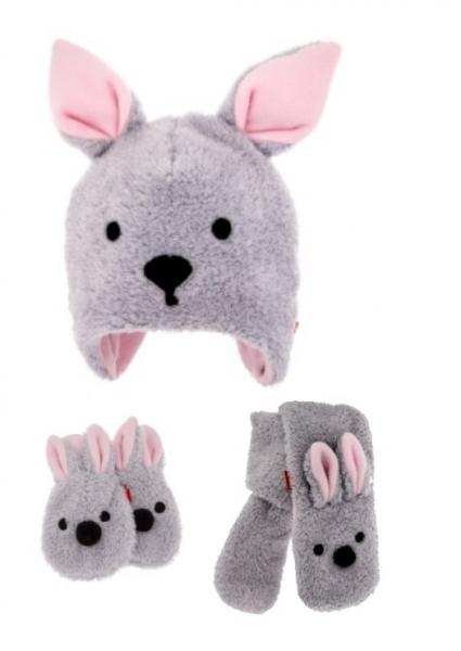 BEXAKomplet zimná čiapka s uškami, šál + rukavičky, Bunny - sivá / ružová, veľ. 92/98