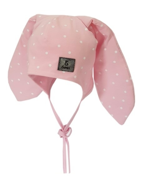 BEXA Bavlnená dvojvrstvová čiapka na zaväzovanie Dots - ružová, veľ. 80/92