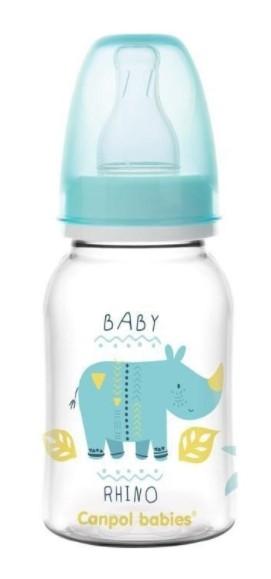 Canpol babies Fľaštička s potlačou 125 ml, Rhino - modrá