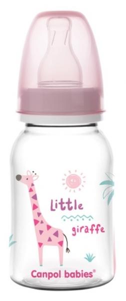Canpol babies Fľaštička s potlačou 125 ml, Žirafka - růžová