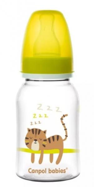 Canpol babies Fľaštička s potlačou 125 ml, Tygrík - žltá