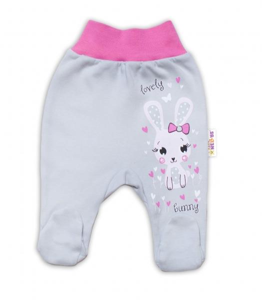 Baby Nellys Bavlnené dojčenské polodupačky, Lovely Bunny - sivé / ružové