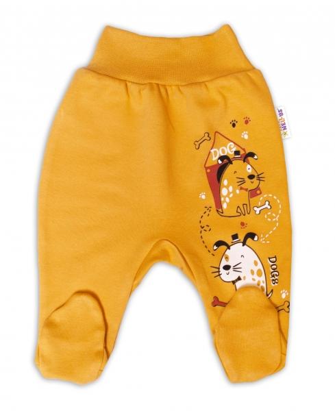Baby Nellys Bavlnené dojčenské polodupačky, Dogs- horčicovej