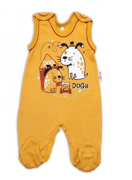 Baby Nellys bavlnené dupačky Dogs - horčicovej