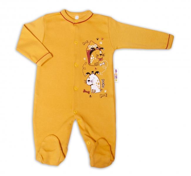 Baby Nellys Bavlnený dojčenský overal Dogs - horčicový, veľ. 62