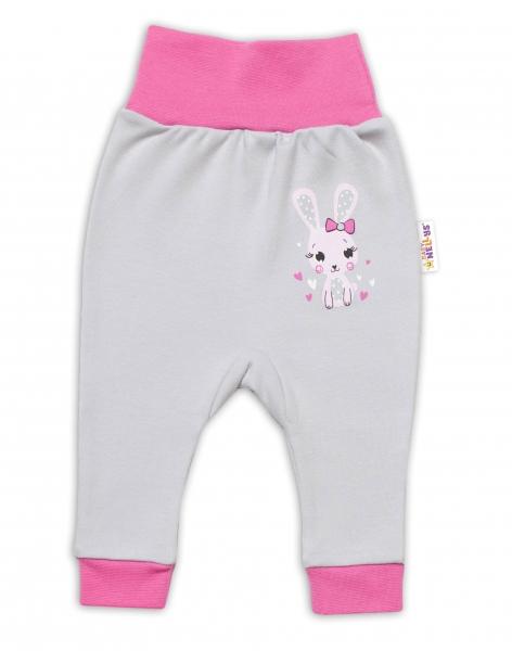 Baby Nellys Dojčenské tepláčky Lovely Bunny - sivé / ružové, veľ. 74