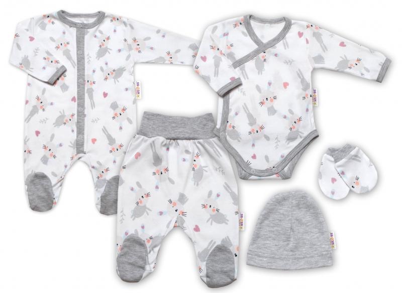 Baby Nellys 5-dielna sada do pôrodnice Cute Bunny, biela / sivá, veľ. 56