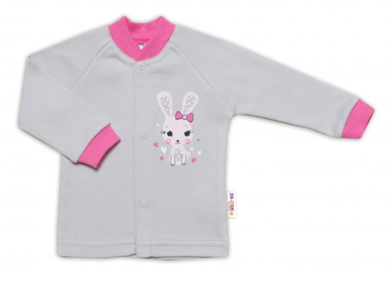 Baby Nellys Bavlnená košieľka Lovely Bunny- sivá / ružová, veľ. 62