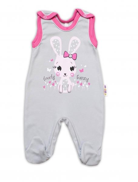 Baby Nellys bavlnené dupačky Lovely Bunny - sivé / ružové, vel. 74