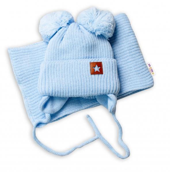 BABY NELLYS Zimná čiapka s šálom STAR - modrá s brmbolcami, veľ. 68/80