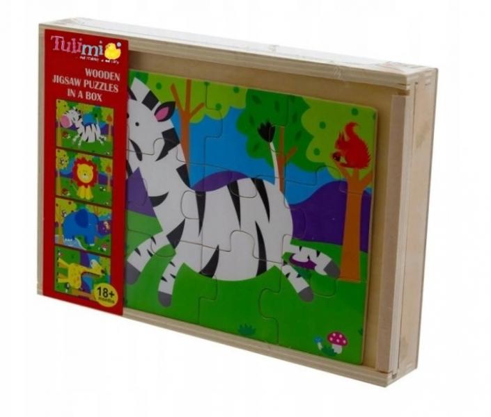 Tulimi Drevené zábavné puzzle 4v1 - Safari