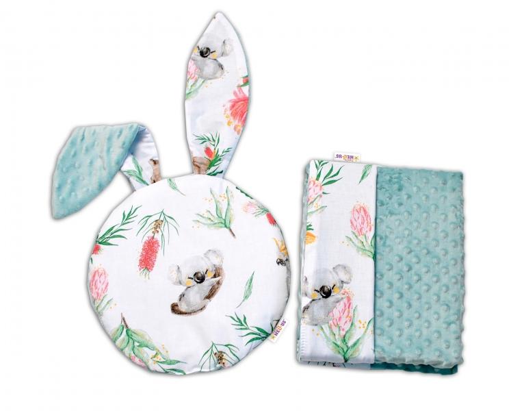 Baby Nellys 2-dielna sada do kočíka s Minky s uškami - Exotika, biela/mátová