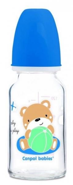 Sklenená fľaštička 120ml Canpol babies Sweet fun - modrá
