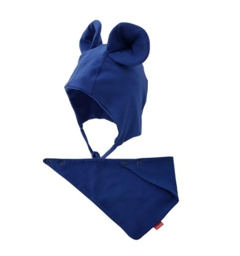 BEXA Bavlnená dvojvrstvová čiapka na zaväzovanie Miki + šatka - granátová