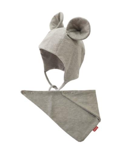 BEXA Bavlnená dvojvrstvová čiapka na zaväzovanie Miki + šatka - sivá, veľ. 62/68