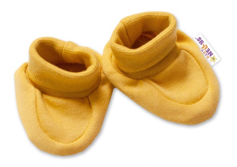 Baby Nellys Dojčenské topánočky, ponožtičky Dogs - horčicovej