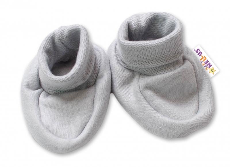 Baby Nellys Dojčenské topánočky, ponožtičky Lovely Bunny - sivé