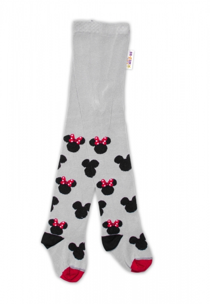 Baby Nellys Detské pančuchy bavlnené Minnie Mouse - sivé, veľ. 104/110
