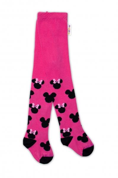 Baby Nellys Detské pančuchy bavlnené Minnie Mouse - malinové